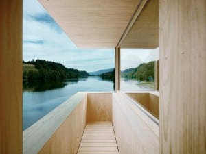 Lake Rosee, Lucerne, Andreas Fuhrimann & Gabrielle Hächler. During the Rotsee rowing regatta, the wooden shutters of the tower slice back, revealing viewing platforms.