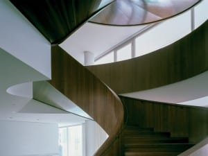 Novartis Campus Forum 3, Basel, Diener & Diener. A curved staircase of American walnut rises through all levels of the building and links the work spaces.